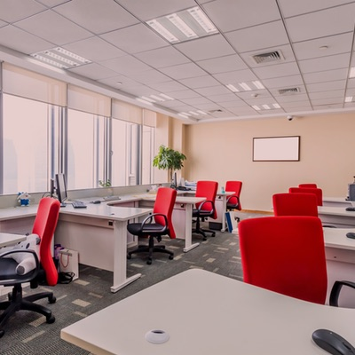 Office Setting with Red Chairs